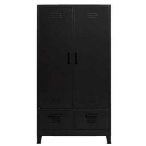 Kledingkast 2-deurs Locker - antraciet - 185x100x50 cm - Leen Bakker.jpg
